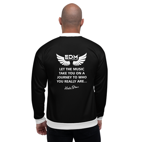 Women's Unisex Fit Bomber Jacket - EDM J to F Journey Slogan White - Black