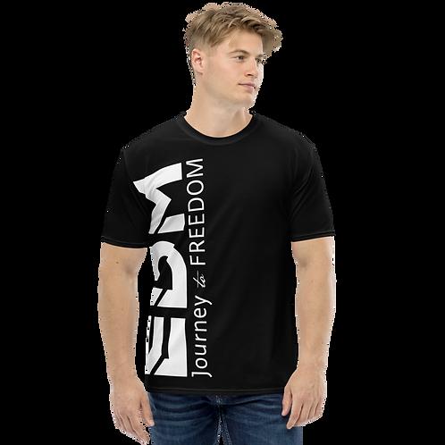 Men's T-shirt Black - EDM Journey to Freedom Large Print - White