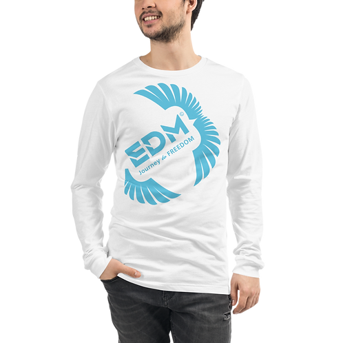 Mens Long Sleeve T-shirt - EDM J to F Square Wings Logo Blue - White