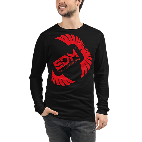 Mens Unisex Long Sleeve T-shirt - EDM J to F Square Wings Logo - Various