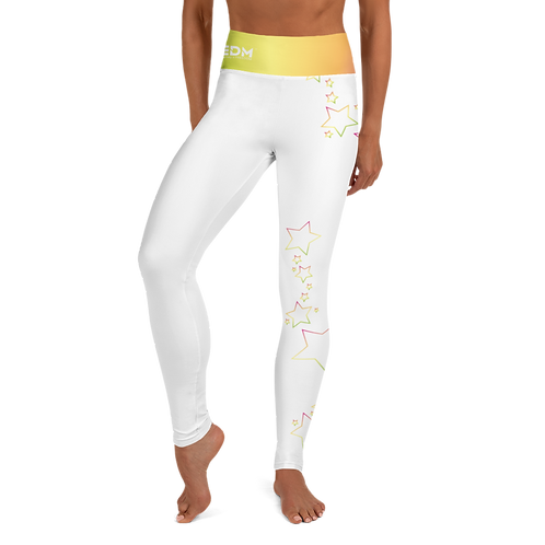 Women's Leggings Multi Rainbow Star Outline - EDM J to F White