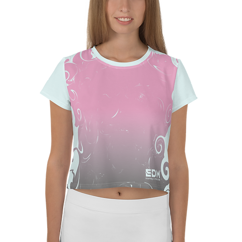 Women's Crop Top - Gradient Pink/Ice Blue - EDM J to F Small Logo White
