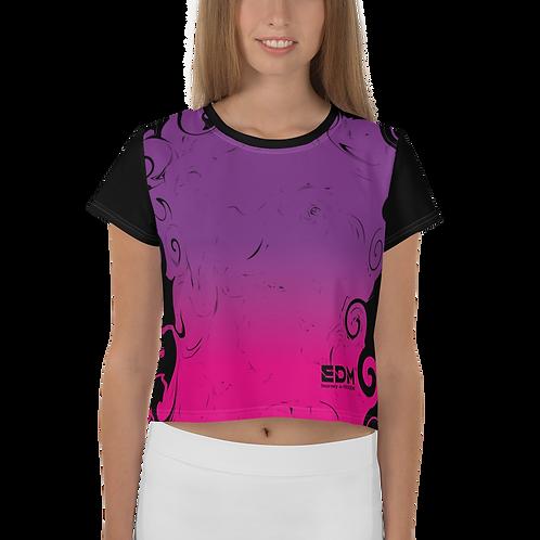 Women's Crop Tee - Gradient Hot Pink/Purple/Black - EDM J to F Small Logo Black