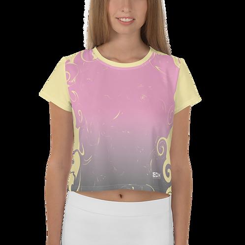 Women's Crop Tee - Gradient Pink/Lemon - EDM J to F Small Logo White