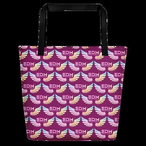 Beach Bag - EDM J to F Tye Dye Logo Pattern - Plum