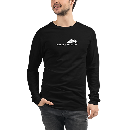 Mens Long Sleeve T-shirt - EDM J to F Text Logo White - Black