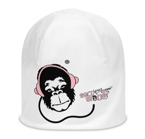 Women's All-Over Print Beanie - GS Music Academy Ape DJ Pink - White