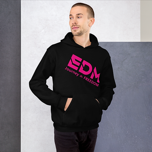 Mens Unisex Hoodie EDM J to F Logo Print Hot Pink - Various
