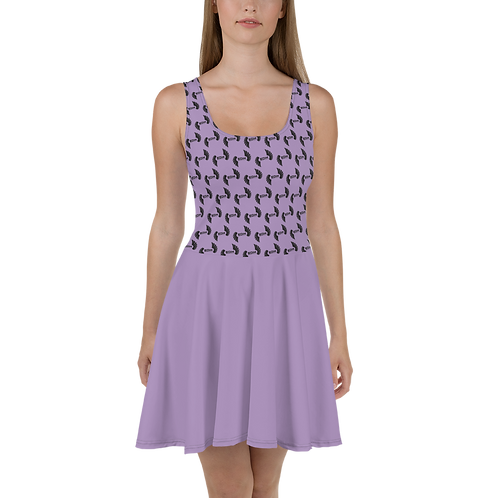 Lilac Skater Dress EDM Journey to Freedom Skirt Pattern Print - Black