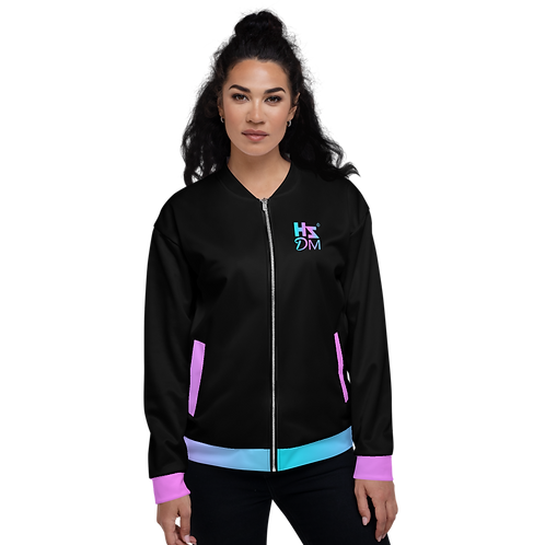 Women's Unisex Fit Bomber Jacket - HS Design & Music Multi Gradient - Black