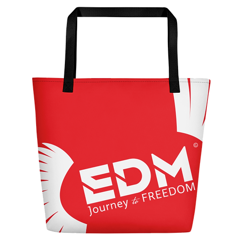 Beach Bag - Red EDM Journey to Freedom Print - White
