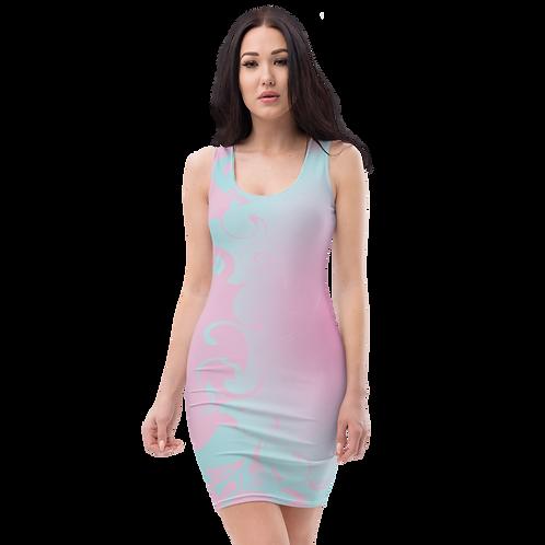 Body Con Dress - EDM J to F Pink/Blue Circle Gradient Swirl - Pink