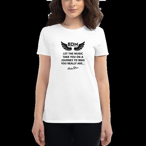 Women's T-shirt - EDM J to F Slogan Print Black - White