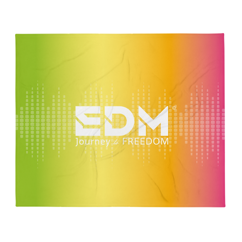 Fleece Throw Blanket - 50 x 60cm - EDM J to F Sound bars - Multi / White