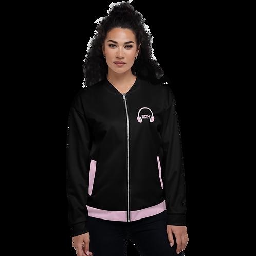 Women's Unisex Fit Bomber Jacket - EDM J to F - Pale Pink DJ Style - Black