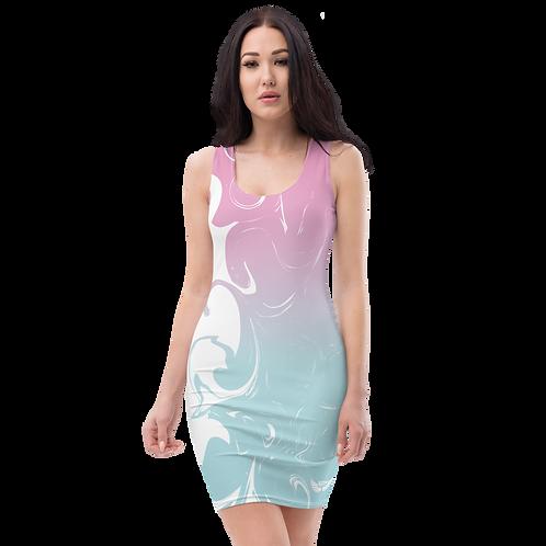 Body Con Dress - EDM J to F Pink/Blue Gradient Swirl - White