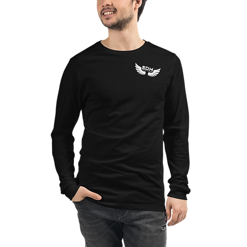 Mens Long Sleeve T-Shirt - EDM J to F Wings Logo White - Black