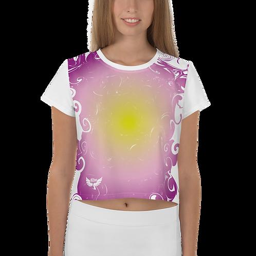 Women's Crop Tee - Gradient Purple/Yellow/White - EDM J to F