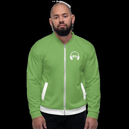 Men's Unisex Fit Bomber Jacket - EDM J to F - Green / White DJ Style
