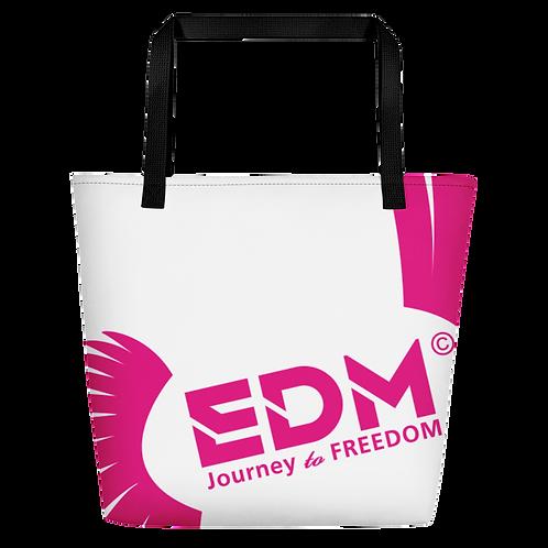 Beach Bag - White EDM Journey to Freedom Print - Hot Pink
