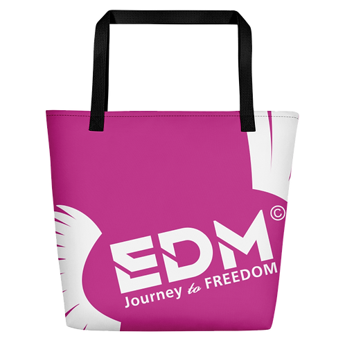 Beach Bag - Dark Pink EDM Journey to Freedom Print - White