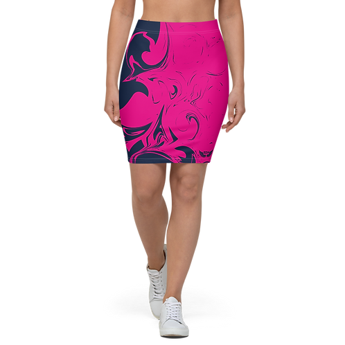 Women's Pencil Skirt-EDM J to F Hot Pink Swirl - Navy