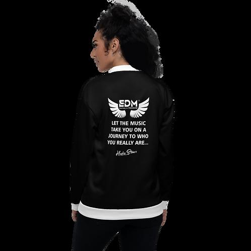 Women's Unisex Fit Bomber Jacket - EDM J to F Journey Slogan White - Black