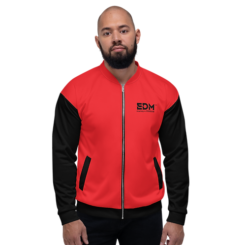 Mens Unisex Fit Bomber Jacket - EDM J to F Two-Tone Red / Black