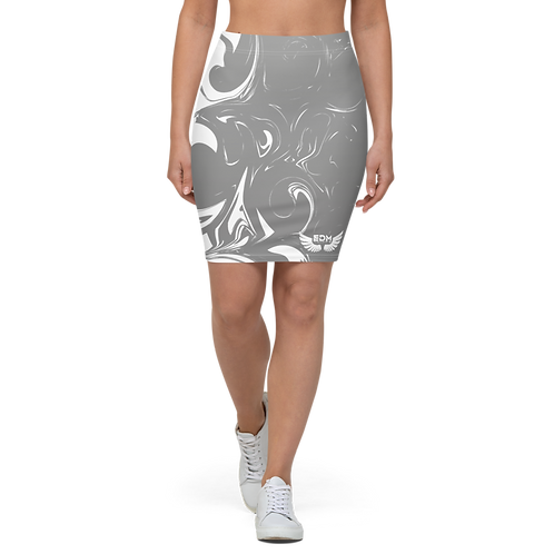 Women's Pencil Skirt-EDM J to F Grey Swirl - White