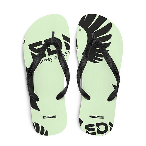 Flip-Flops Light Green EDM Journey to Freedom Print - Black
