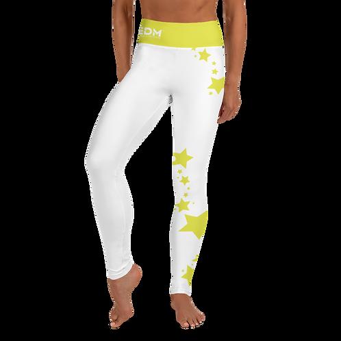 Women's Leggings Lime Yellow Star - EDM J to F White