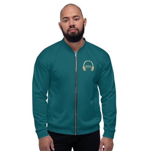 Mens Unisex Fit Bomber Jacket - EDM J to F - Green Teal / Gold DJ Style