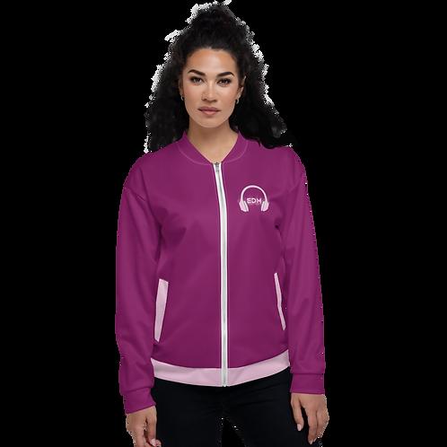 Women's Unisex Fit Bomber Jacket - EDM J to F - Pale Pink DJ Style - Plum