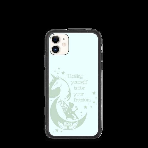 Biodegradable iPhone case - Unicorn Fairy Sage - Black