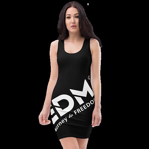 Body Con Dress - Black EDM Journey to Freedom No wings Print - White