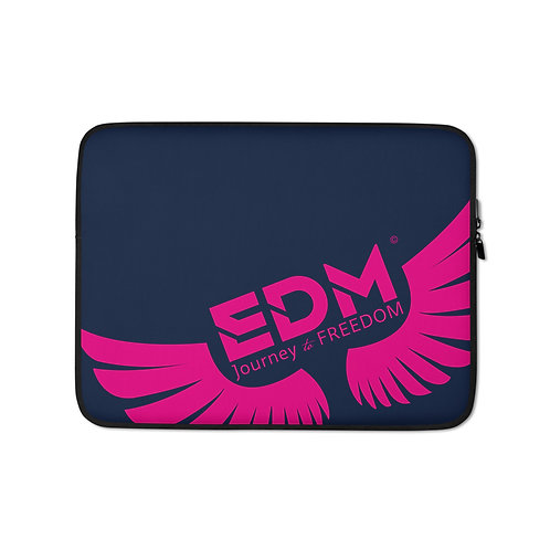 "Navy Laptop Sleeve - 13"", 15"" - EDM Journey to Freedom Print - Hot Pink"