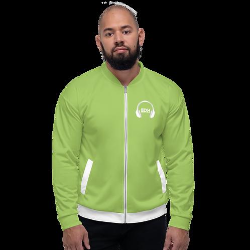 Mens Unisex Fit Bomber Jacket - EDM J to F - Green / White DJ Style