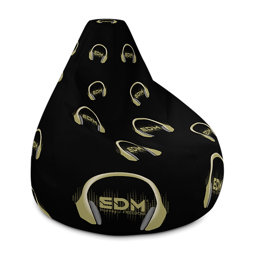 Bean Bag Chair Cover EDM J to F Headphone Design - Black / Gold