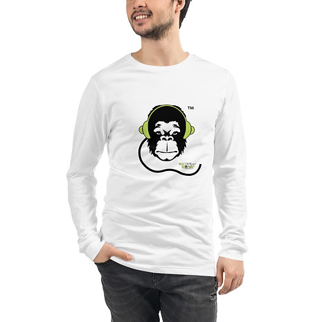 Mens Long Sleeve T-Shirt - GS Music Academy Ape DJ - White