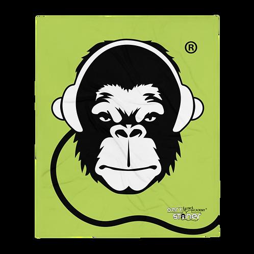 Fleece Throw Blanket - GS Music Academy Ape DJ - Green