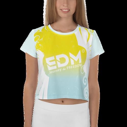Womens Crop Top EDM J to F Gradient Swirl Yellow/Blue Large Logo White -Ice Blue