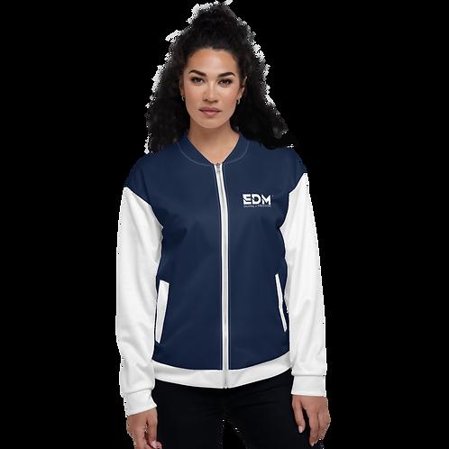 Women's Unisex Fit Bomber Jacket - EDM Journey to Freedom White / Navy