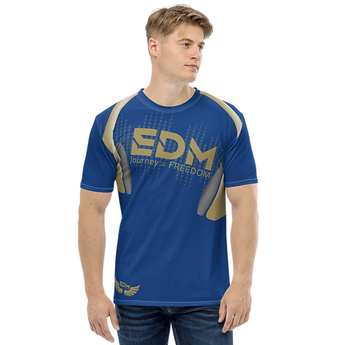 Men's T-shirt - EDM J to F Headphones - Gold/Royal Blue