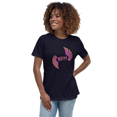 Women's Black / Navy Relaxed T-Shirt - EDM Journey to Freedom - Purple & Yellow