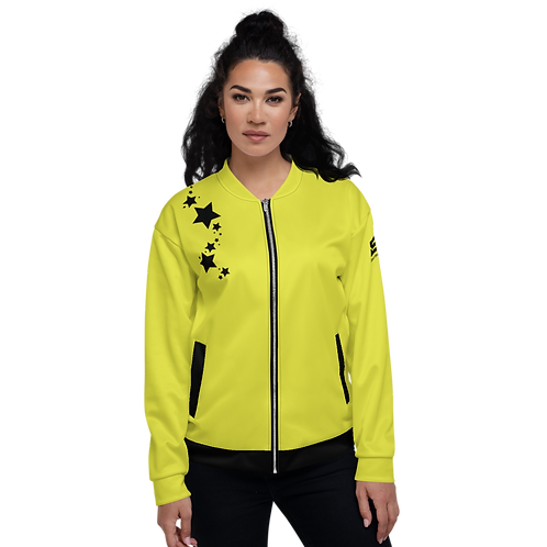 Women's Unisex Fit Bomber Jacket - EDM J to F Lime Yellow - Black Star