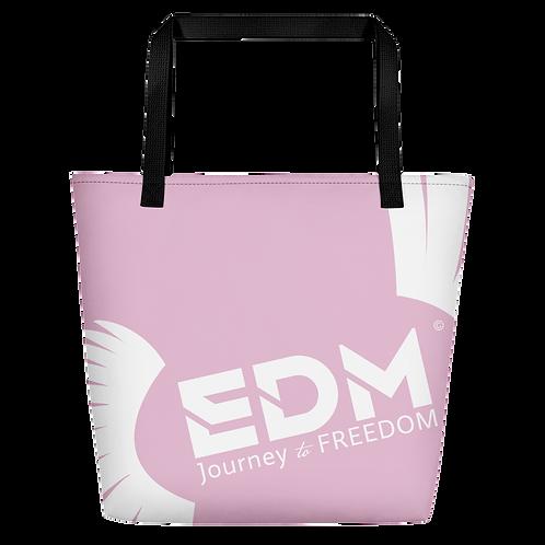Beach Bag - Pink EDM Journey to Freedom Print - White