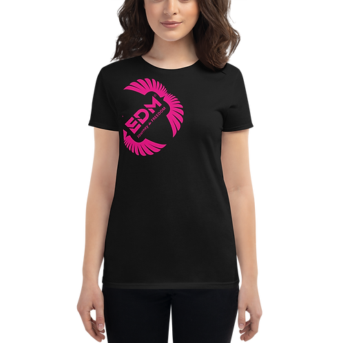 Women's short sleeve T-shirt - EDM J to F Hot Pink Square Wings Logo - Black