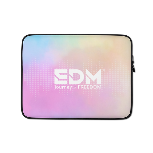 "Laptop Sleeve - 13"", 15"" - EDM J to F Sound Bars Tye Dye Pastels/White"