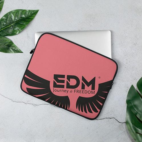 "Coral Grey Laptop Sleeve - 13"", 15"" - EDM Journey to Freedom Print - Black"