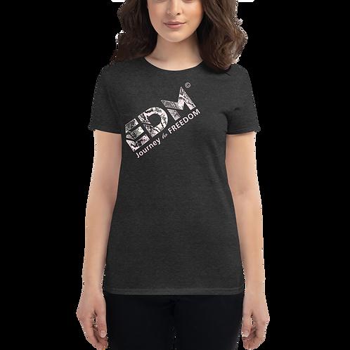 Women's Short Sleeve T-shirt -EDM J to F Snake Print Text Pink-Dark Heather Grey